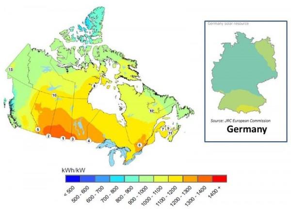 Canada vs Germany solar PV potential